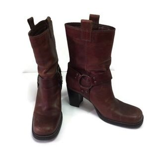 Mia Boots Brown Leather Pull On Tabs Harness Heel